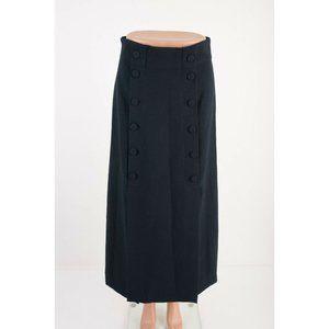 Zara Womens High Waist Midi Skirt M Navy Blue